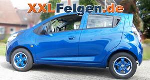 Chevrolet Spark mit blauen DBV Tahiti blue 14 Zoll Felgen