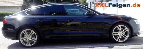 Audi A5 Sportback mit DBV Mauritius Alufelge und Tracmax Sommereifen als Komplettrad