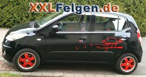 Hyundai i10 PA mit DBV Tahiti Felgen in rot 14 Zoll