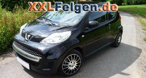 Peugeot 107 + DBV Florida black 15 Zoll Alufelgen