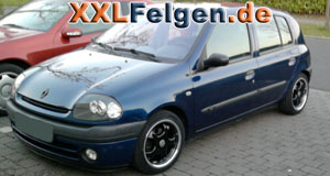 Renault Clio B mit DBV Tahiti black 15 Zoll Felgen